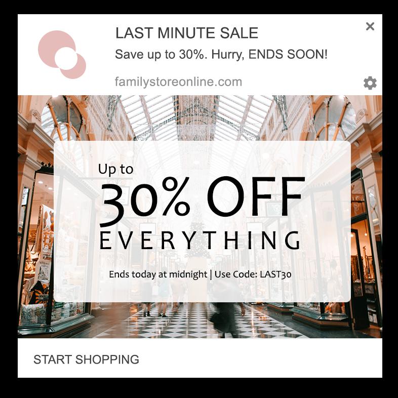 last minute sale web push